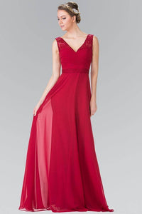 Elizabeth K GL2363 Long Chiffon Dress with Lace Straps in Burgundy - SohoGirl.com