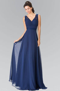 Elizabeth K GL2363 Long Chiffon Dress with Lace Straps in Navy - SohoGirl.com