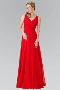 Elizabeth K GL2363 Long Chiffon Dress with Lace Straps in Red - SohoGirl.com