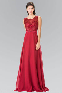 Elizabeth K GL2364 Sheer Embroidered Bodice with Belt Long Dress in Burgundy - pallawashop.com