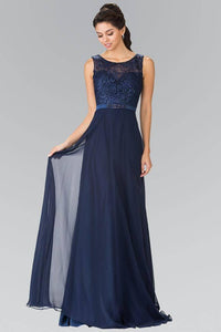 Elizabeth K GL2364 Sheer Embroidered Bodice with Belt Long Dress in Navy - SohoGirl.com