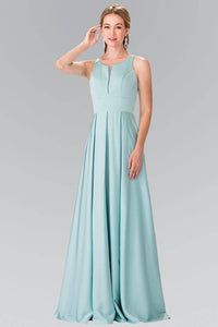 Elizabeth K GL2365 Notched Scoop Neck and Pleated Long Dress in Aqua