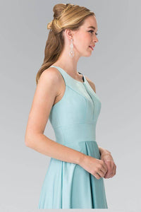 Elizabeth K GL2365 Notched Scoop Neck and Pleated Long Dress in Aqua - SohoGirl.com