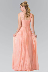 Elizabeth K GL2366 Sweetheart Cut Out Bridesmaids Long Dress in Coral