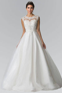 Elizabeth K GL2368 Lace Bodice A-Line Wedding Dress in Ivory
