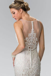 Elizabeth K GL2369 Illusion V Neck Mermaid Lace Wedding Dress in Ivory Champagne - SohoGirl.com