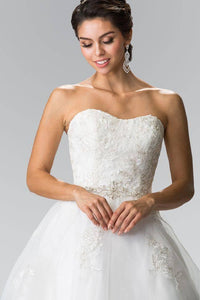 Elizabeth K GL2370 Lace Sweetheart Corset Long Wedding Dress in Ivory - SohoGirl.com