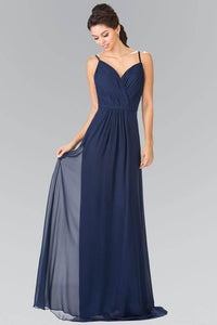 Elizabeth K GL2374 Spaghetti Strap Sweetheart Long Bridesmaids Dress in Navy