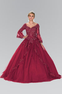Elizabeth K GL2377 Quinceanera Flower Embroidery Long Dress with Long sleeve In Burgundy