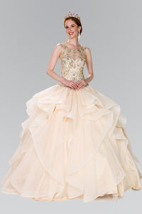 Elizabeth K GL2378 Quinceanera Full Beaded Bodice Illusion Ball Gown with Bolero in Champagne - SohoGirl.com