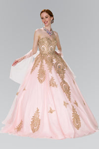 Elizabeth K GL2379 Quinceanera Tulle Sweetheart Ball Gown with Embroidery and Beads In Blush