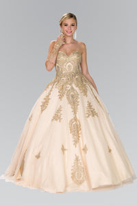 Elizabeth K GL2379 Quinceanera Tulle Sweetheart Ball Gown with Embroidery and Beads In Champagne