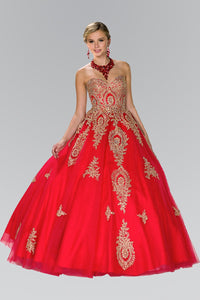 Elizabeth K GL2379 Quinceanera Tulle Sweetheart Ball Gown with Embroidery and Beads In Red - SohoGirl.com