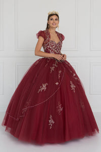 Elizabeth K GL2427 Quinceanera Beads Embellished Tulle Ball Gown with Bolero In Burgundy - SohoGirl.com