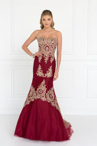 Elizabeth K GL2428 Embroidered Tulle Trumpet Dress in Burgundy