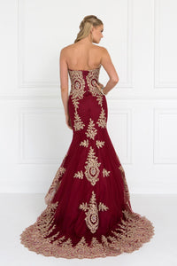Elizabeth K GL2428 Embroidered Tulle Trumpet Dress in Burgundy - SohoGirl.com
