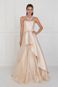 Elizabeth K GL 2429 Jewel Accented A-Line Skirt Mikado Long Dress In Champagne - SohoGirl.com