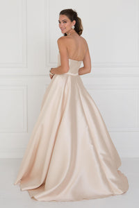 Elizabeth K GL 2429 Jewel Accented A-Line Skirt Mikado Long Dress In Champagne