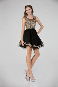 Elizabeth K GS1334 Gold Lace Tulle Mini Cocktail Dress in Black