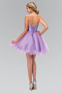 Elizabeth K GS1350 Short Tulle Dress with Pleated Waistband and Floral Lace in Lilac