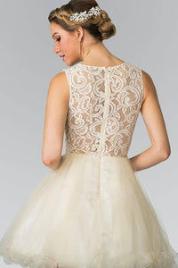 Elizabeth K GS1427 Jewel Embellished Lace Mini Dress in Champagne - SohoGirl.com