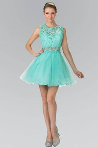 Elizabeth K GS1427 Jewel Embellished Lace Mini Dress in Mint - SohoGirl.com