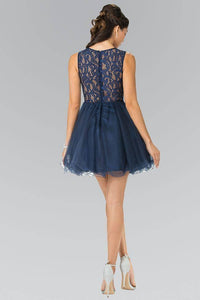 Elizabeth K GS1427 Jewel Embellished Lace Mini Dress in Navy - pallawashop.com