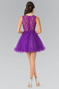 Elizabeth K GS1427 Jewel Embellished Lace Mini Dress in Purple - SohoGirl.com
