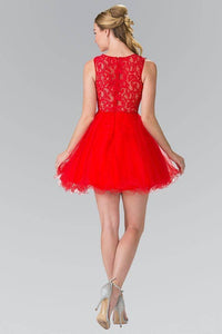 Elizabeth K GS1427 Jewel Embellished Lace Mini Dress in Red