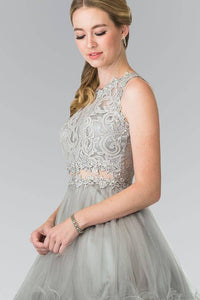 Elizabeth K GS1427 Jewel Embellished Lace Mini Dress in Silver - SohoGirl.com