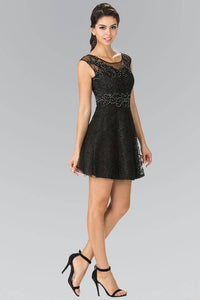 Elizabeth K GS1428 Jewel Detailed Lace Mini Dress in Black