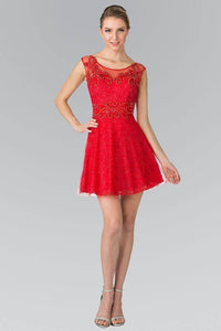 Elizabeth K GS1428 Jewel Detailed Lace Mini Dress in Red - SohoGirl.com