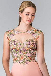 Elizabeth K GS1435 Colorful Beaded Embroidery Embellished Cut Out Bodice Short Dress in Coral - SohoGirl.com