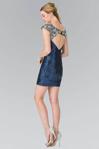 Elizabeth K GS1436 Silver Detailed Floral Sequin Mini Dress in Royal Blue - SohoGirl.com