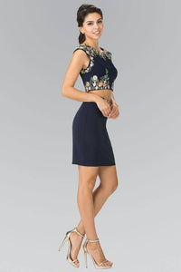 Elizabeth K GS1439 Two Piece Embroidered Pencil Skirt Mini Dress in Navy
