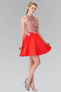 Elizabeth K GS1442 Embellished Sleeveless Short Dress with Sheer Back in Red - pallawashop.com