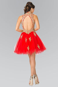 Elizabeth K GS1451 Lace Applique Tulle Short Dress in Red
