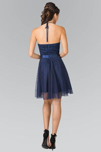 Elizabeth K GS1465 Halter A-Line Short Dress with Embroidery in Navy - SohoGirl.com