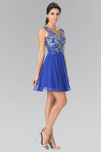 Elizabeth K GS1467 Short V-Neck Homecoming Dress with Jeweled Bodice in Royal Blue