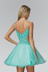Elizabeth K GS2030 Spaghetti Straps Short Tulle Dress with Lace Bodice In Tiffany - SohoGirl.com