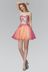 Elizabeth K GS2035 Strapless Sweetheart Tulle Short Dress with Floral Jewel on Bodice In Fuchsia-Yellow
