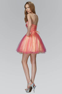 Elizabeth K GS2035 Strapless Sweetheart Tulle Short Dress with Floral Jewel on Bodice In Fuchsia-Yellow - SohoGirl.com