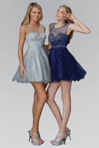 Elizabeth K GS2063Y Sweetheart Illusion Rhinsestone Embellished Tulle Mini Dress in Silver