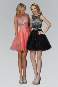 Elizabeth K GS2064Y Dazzling Bead Embellished Sweetheart Illusion Tulle Mini Dress in Coral