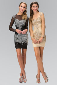 Elizabeth K GS2134 Long Sleeve Bodycon Short Dress Accented with Jewel and Sequin in Champagne-Champagne - SohoGirl.com