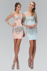 Elizabeth K GS2135 Sheer Long Sleeve Bodycon Short Dress Accented with Jewel and Sequin in Peach
