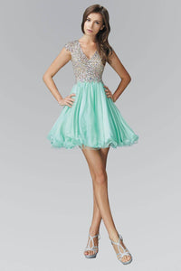 Elizabeth K GS2151X Sparkling V-neck Open Back Bodice Tulle Mini Dress in Mint - SohoGirl.com