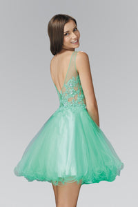 Elizabeth K GS2156 Rolled Hem Short Dress with Sheer Bodice in E-M Green - SohoGirl.com