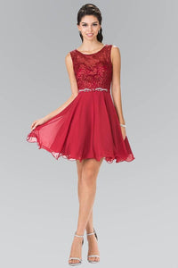 Elizabeth K GS2314Lace Bodice A-Line Short Dress in Burgundy - pallawashop.com
