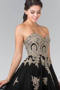 Elizabeth K GS2371 Sweet hearted A-line Tulle Short Dress with Corset Back in Black